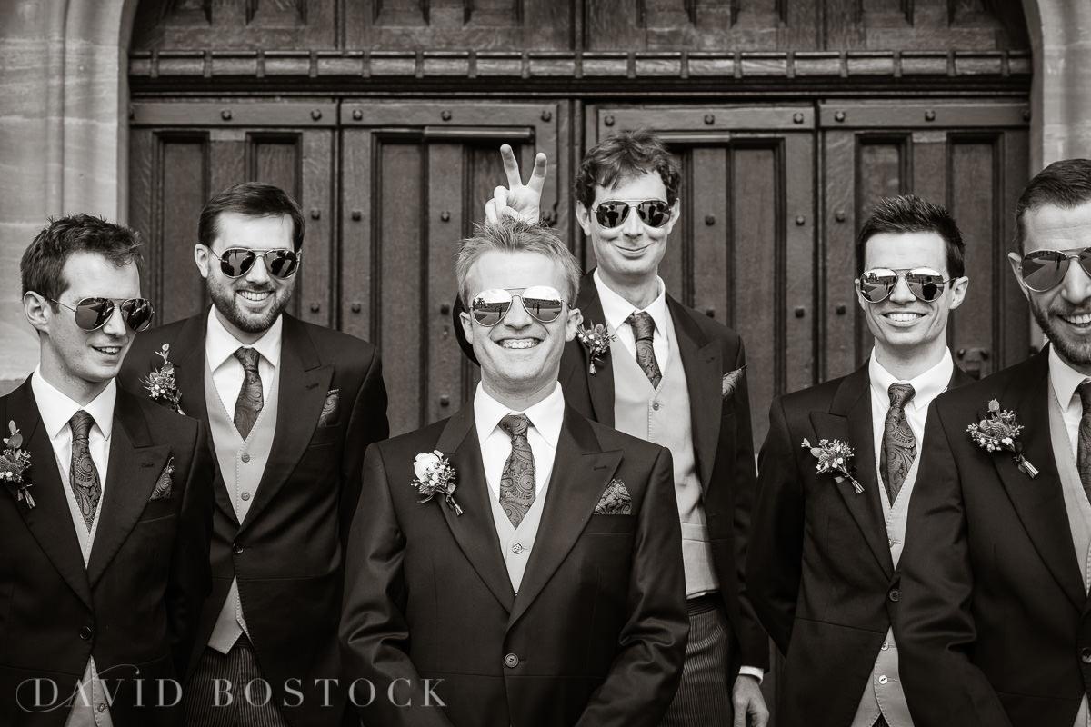 Ashmolean wedding fun groomsmen photo