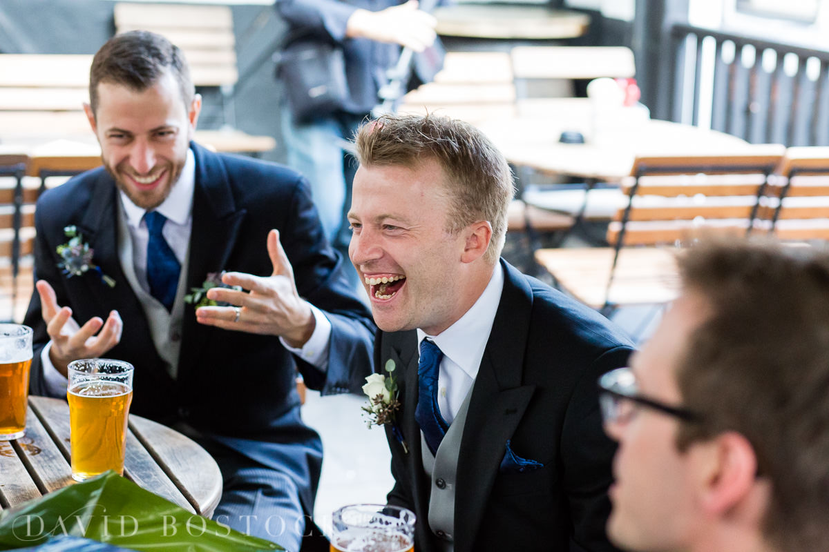 Ashmolean wedding groom laughing