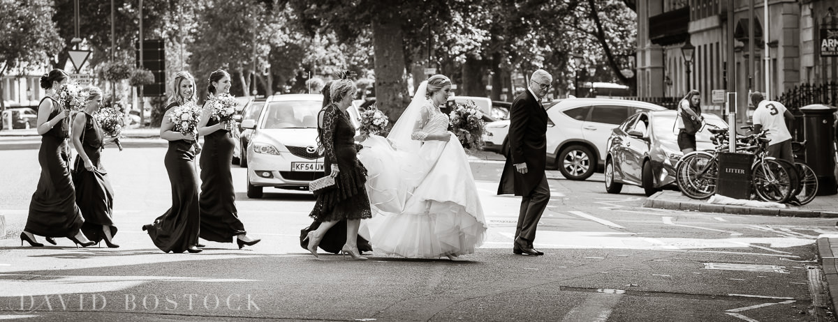 Ashmolean wedding bride crossing street