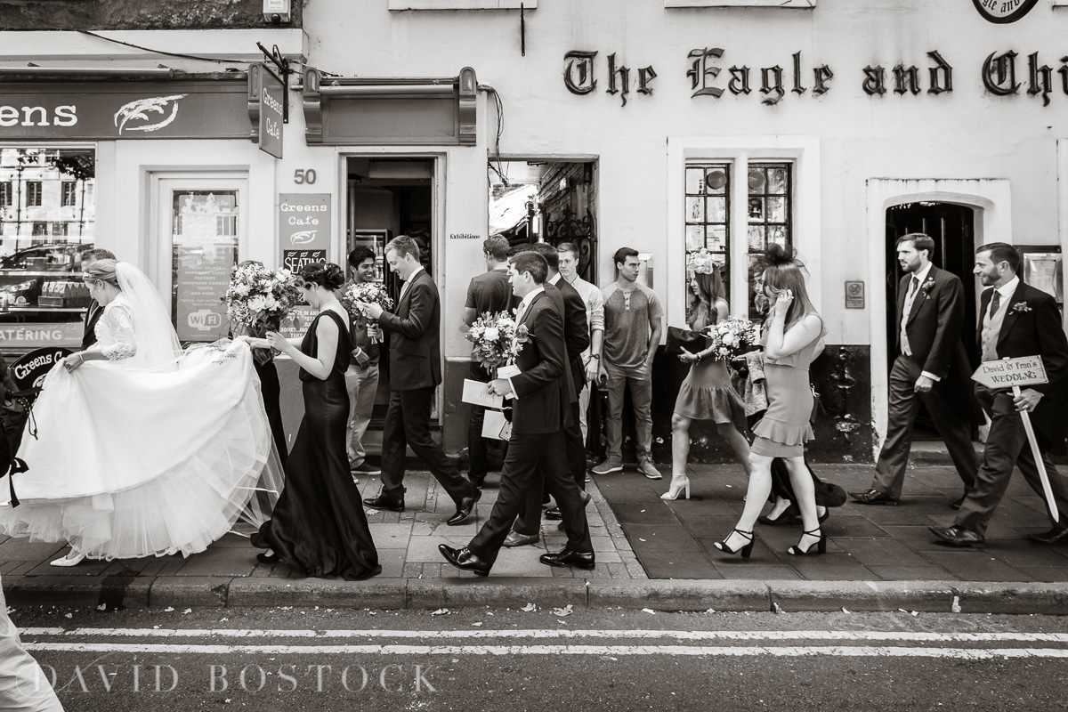 Ashmolean wedding bridal party on Oxford streets
