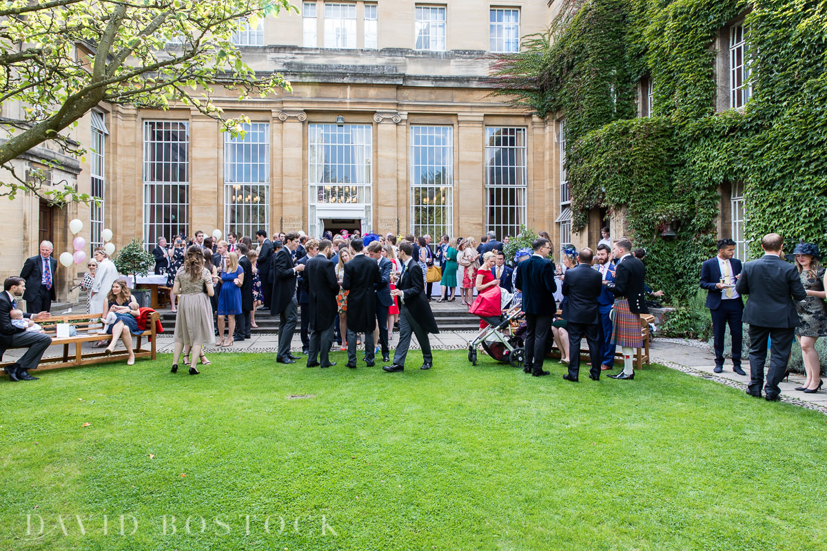 Ashmolean wedding Regents Park College garden drinks