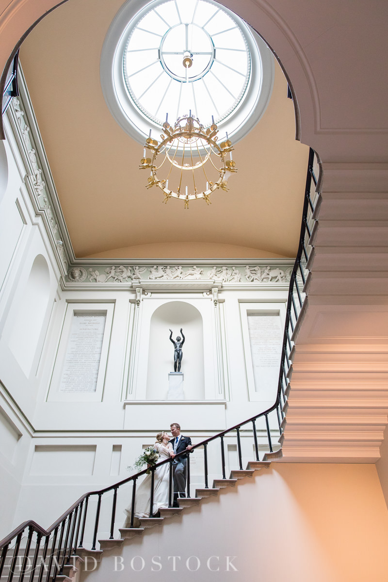 Ashmolean wedding bride and groom on stairs