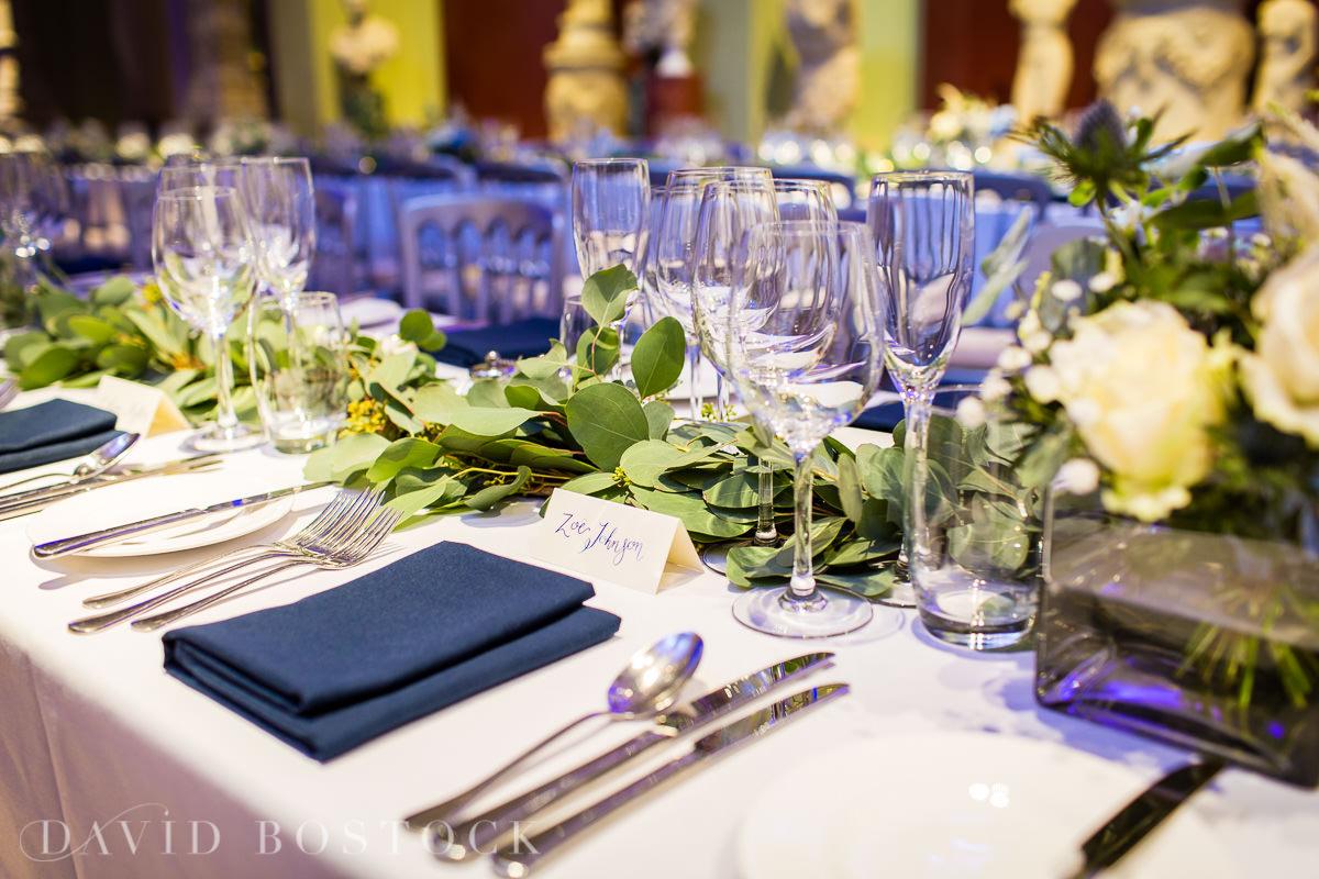 Ashmolean wedding table setting