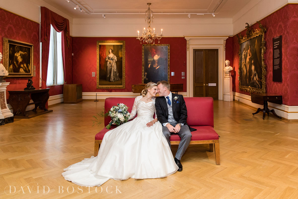 Ashmolean wedding bride and groom in gallery