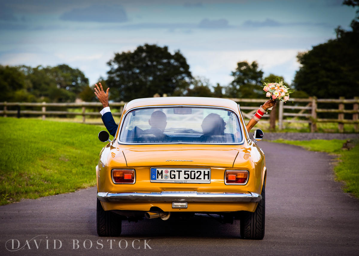 Caswell House wedding fun vintage car