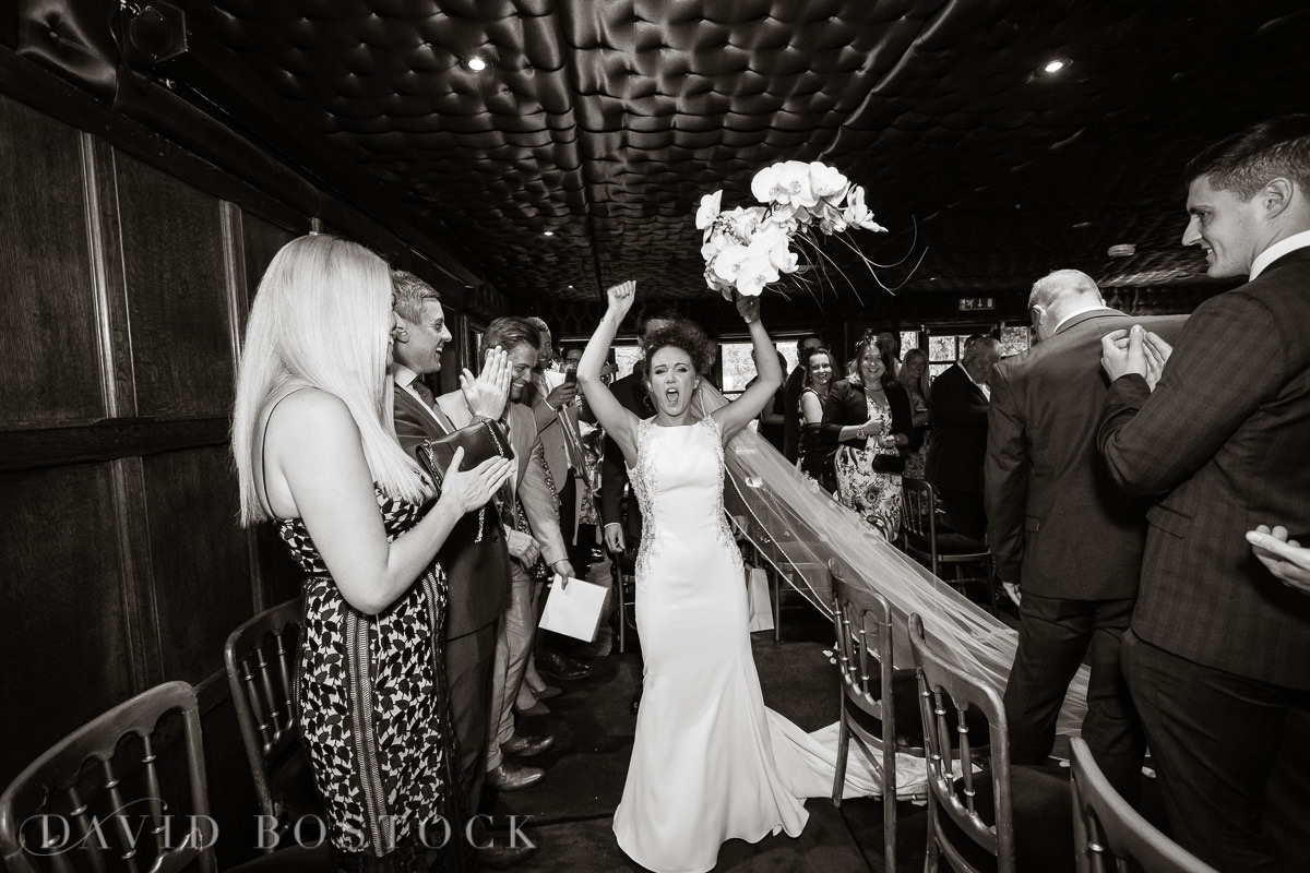 The Crazy Bear bride cheering
