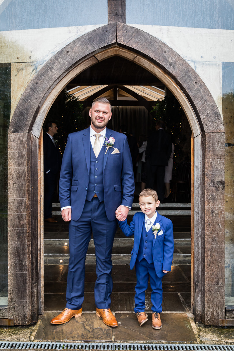 Cripps Barn wedding groom and page boy
