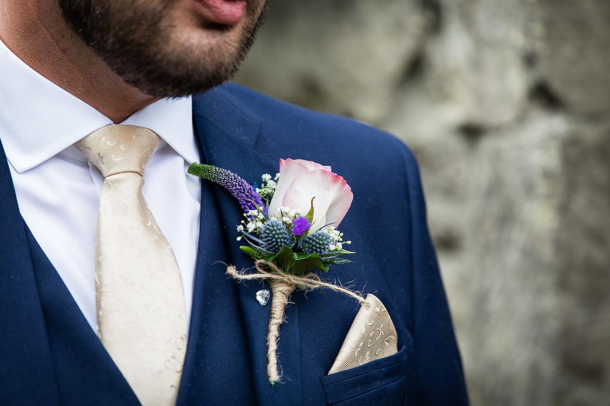 Cripps Barn wedding groom buttonhole