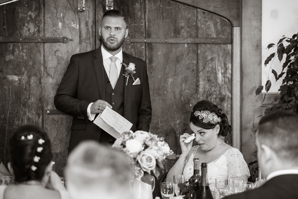 Cripps Barn wedding emotional speeches