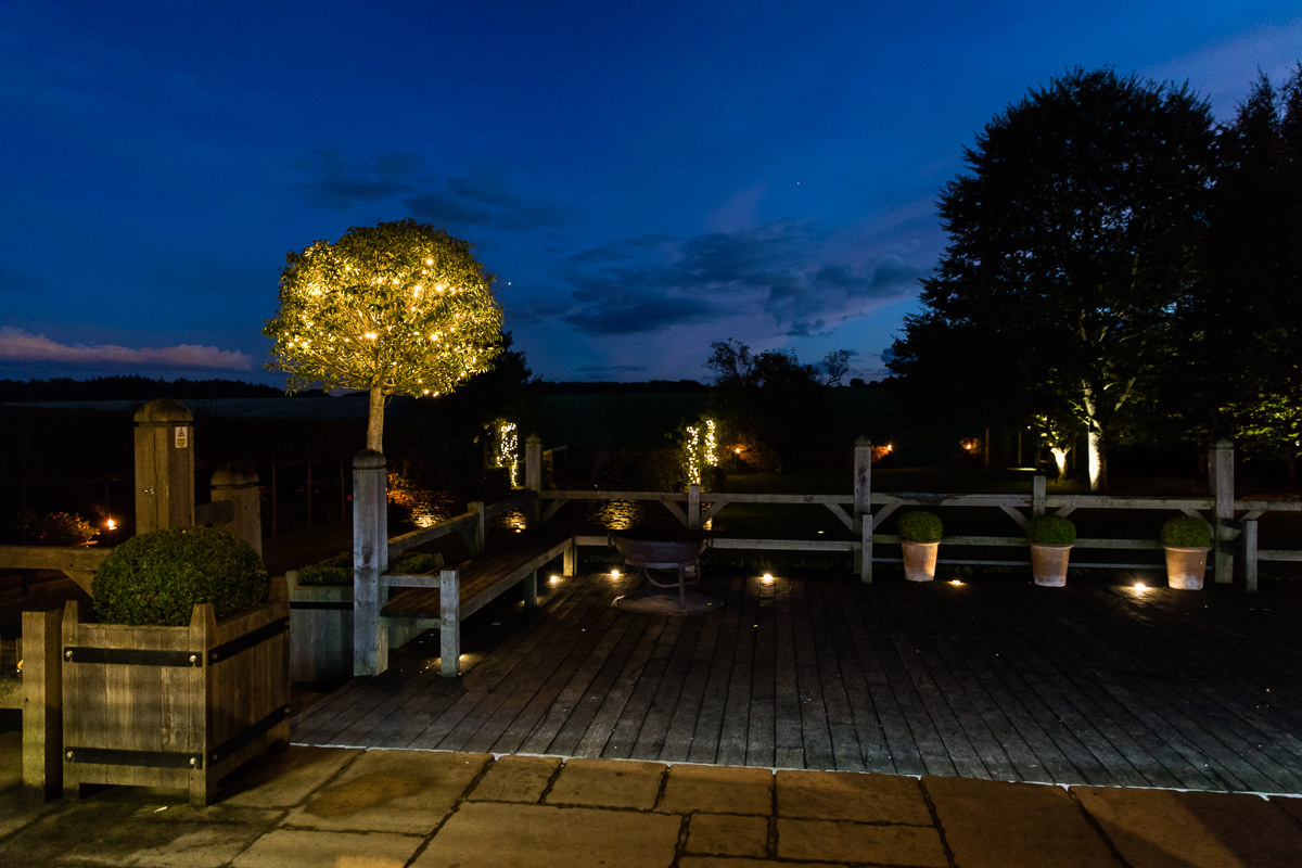 Cripps Barn wedding at night