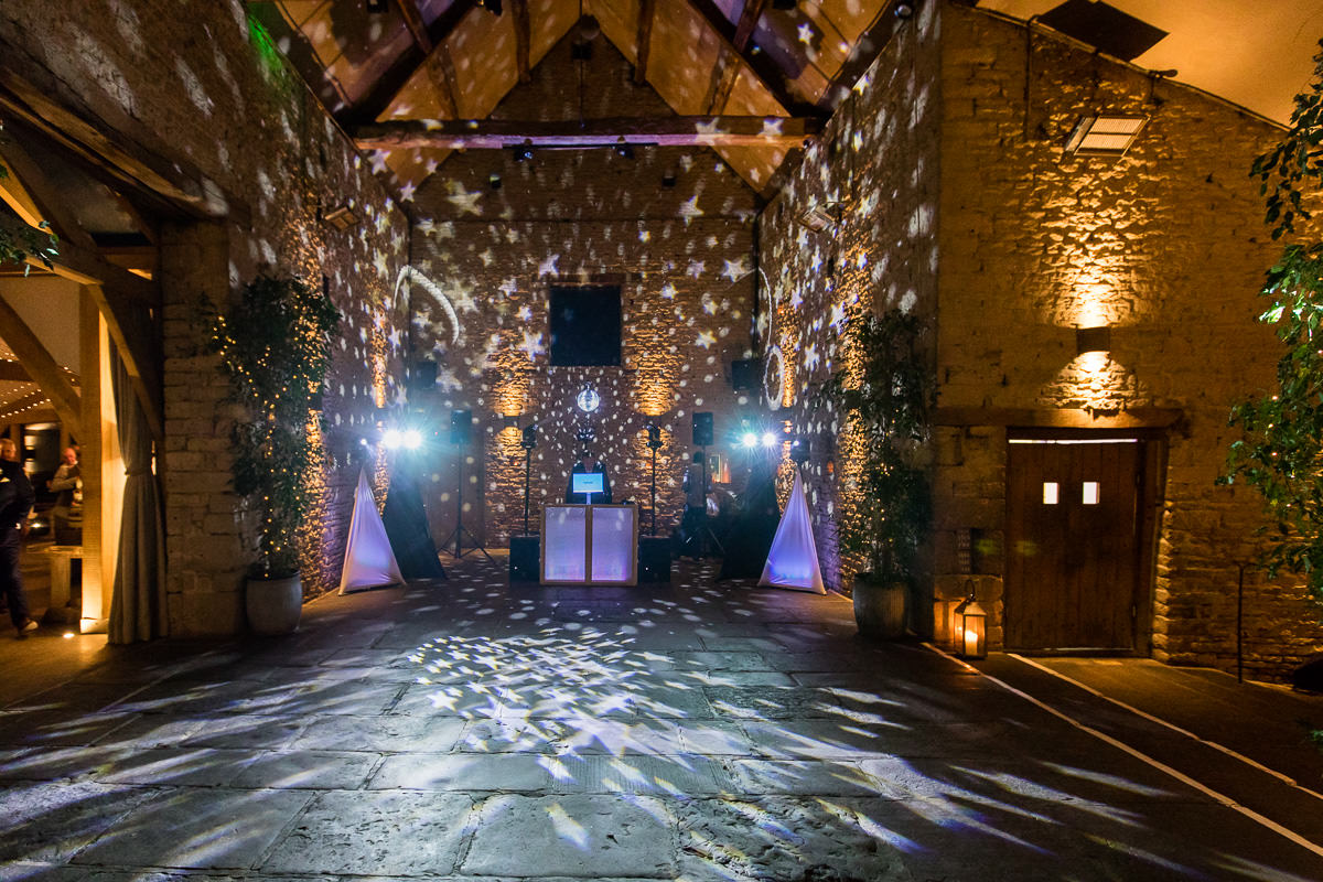 Cripps Barn wedding dance floor lit up