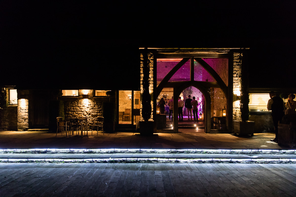 Cripps Barn wedding nighttime