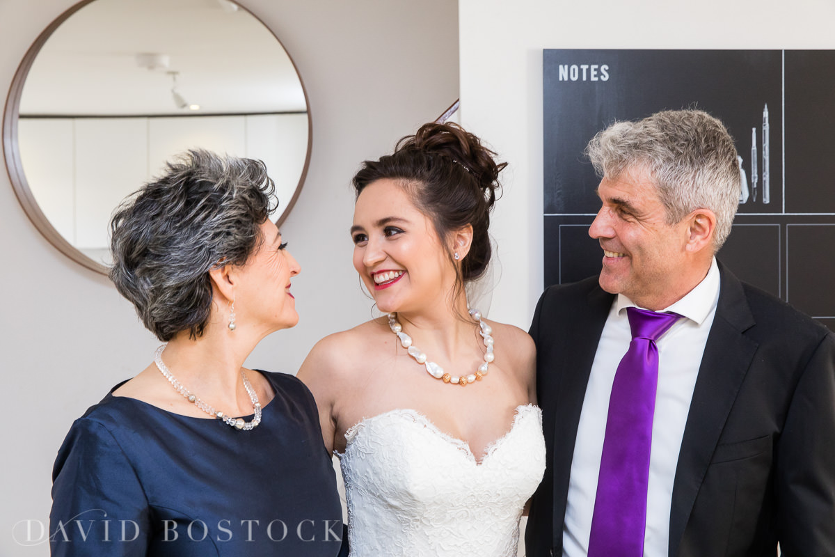 Hertford College Oxford wedding bride and family