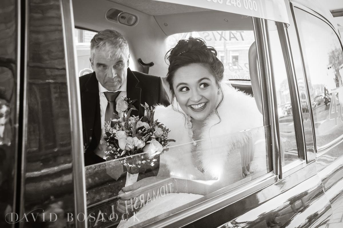 Hertford College Oxford wedding bride in car