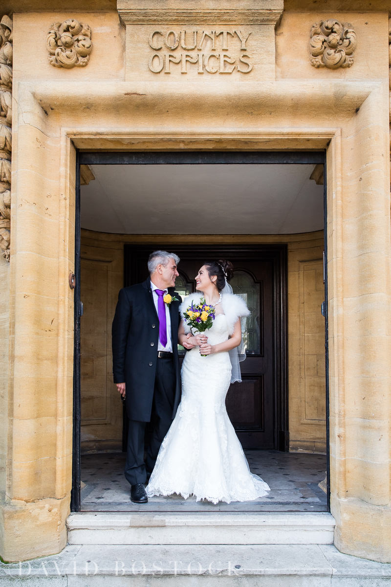 Hertford College Oxford wedding bride and father