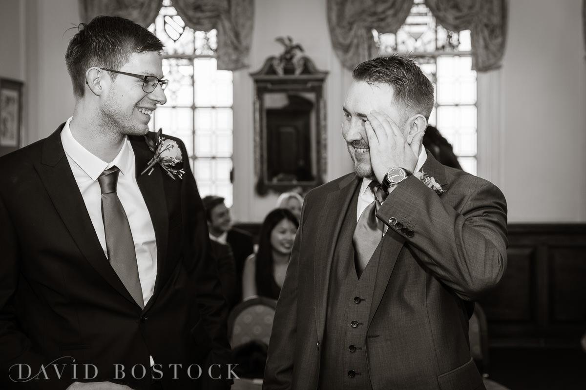 Hertford College Oxford wedding nervous groom