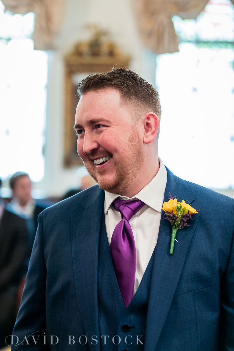 Hertford College Oxford wedding happy groom