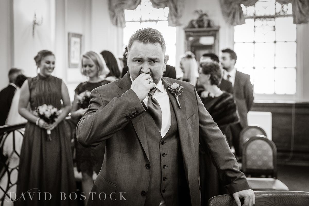 Hertford College Oxford wedding emotional groom