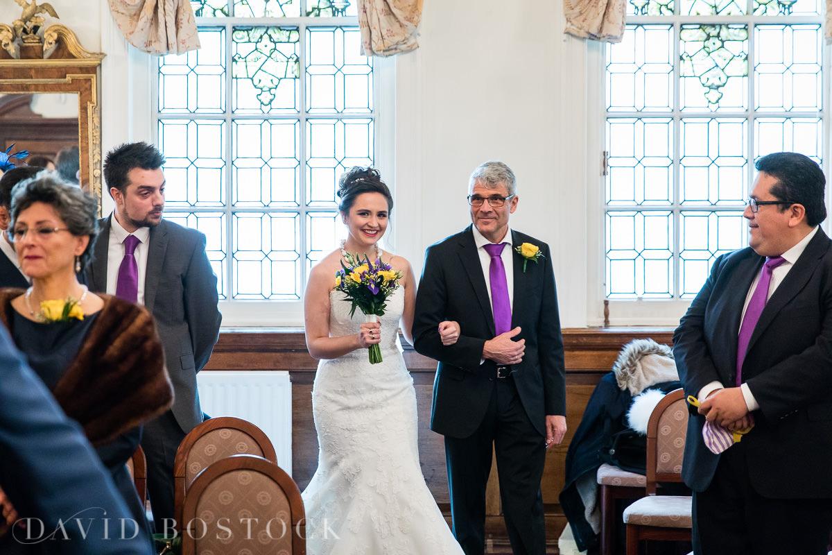 Hertford College Oxford wedding bride walking down aisle