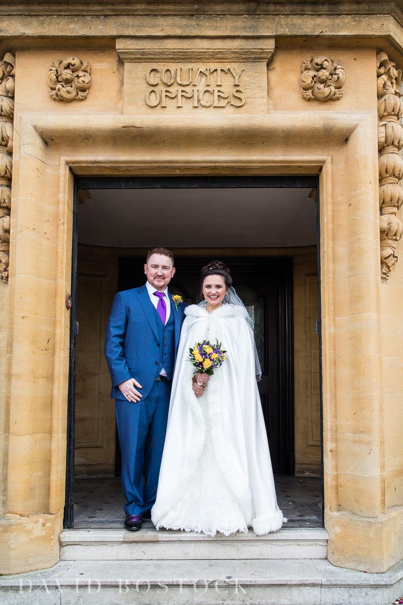 Hertford College Oxford wedding fur cape
