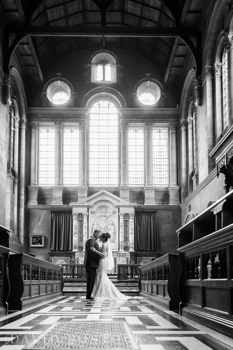 Hertford College Oxford wedding chapel bride and groom