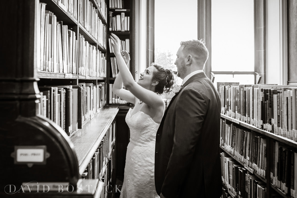 Hertford College Oxford wedding bride and groom library