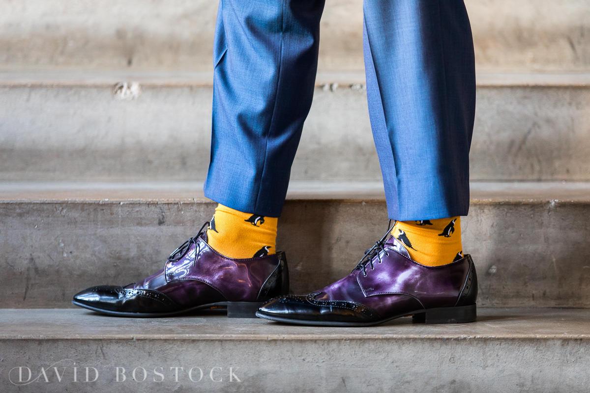 Hertford College Oxford wedding groom fun socks