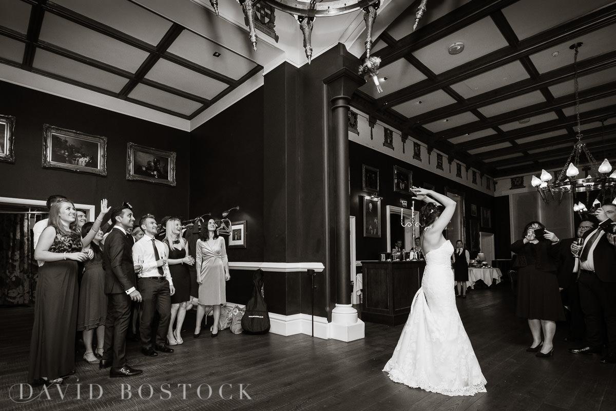Hertford College Oxford wedding bouquet toss
