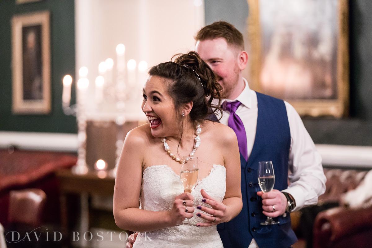 Hertford College Oxford wedding bride laughing
