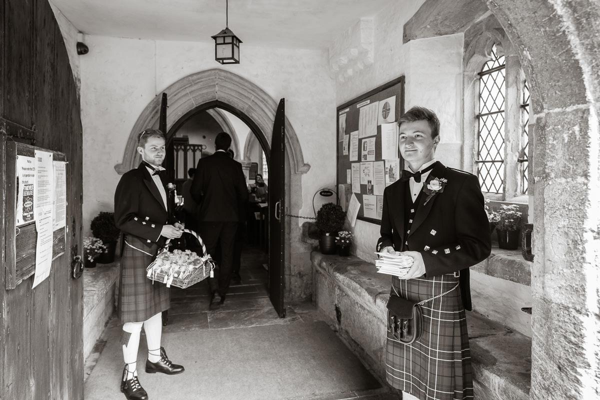 Ardington House wedding groomsmen in kilts