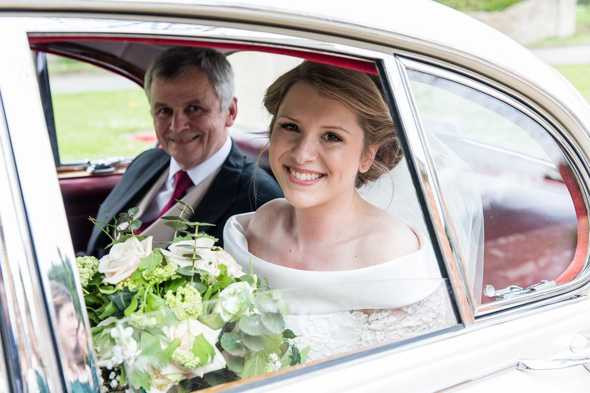 Ardington House wedding car and bride