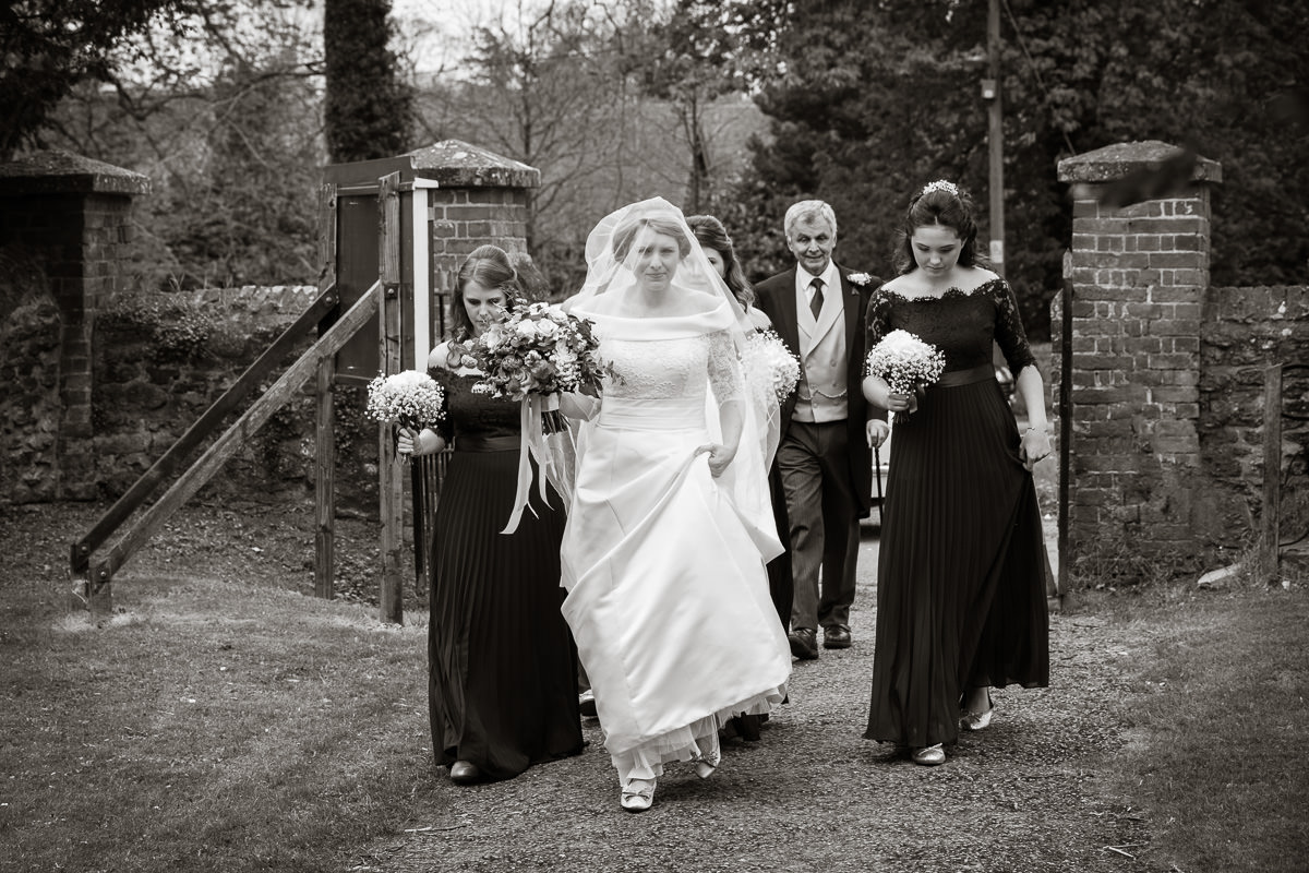 Ardington House wedding walking to church