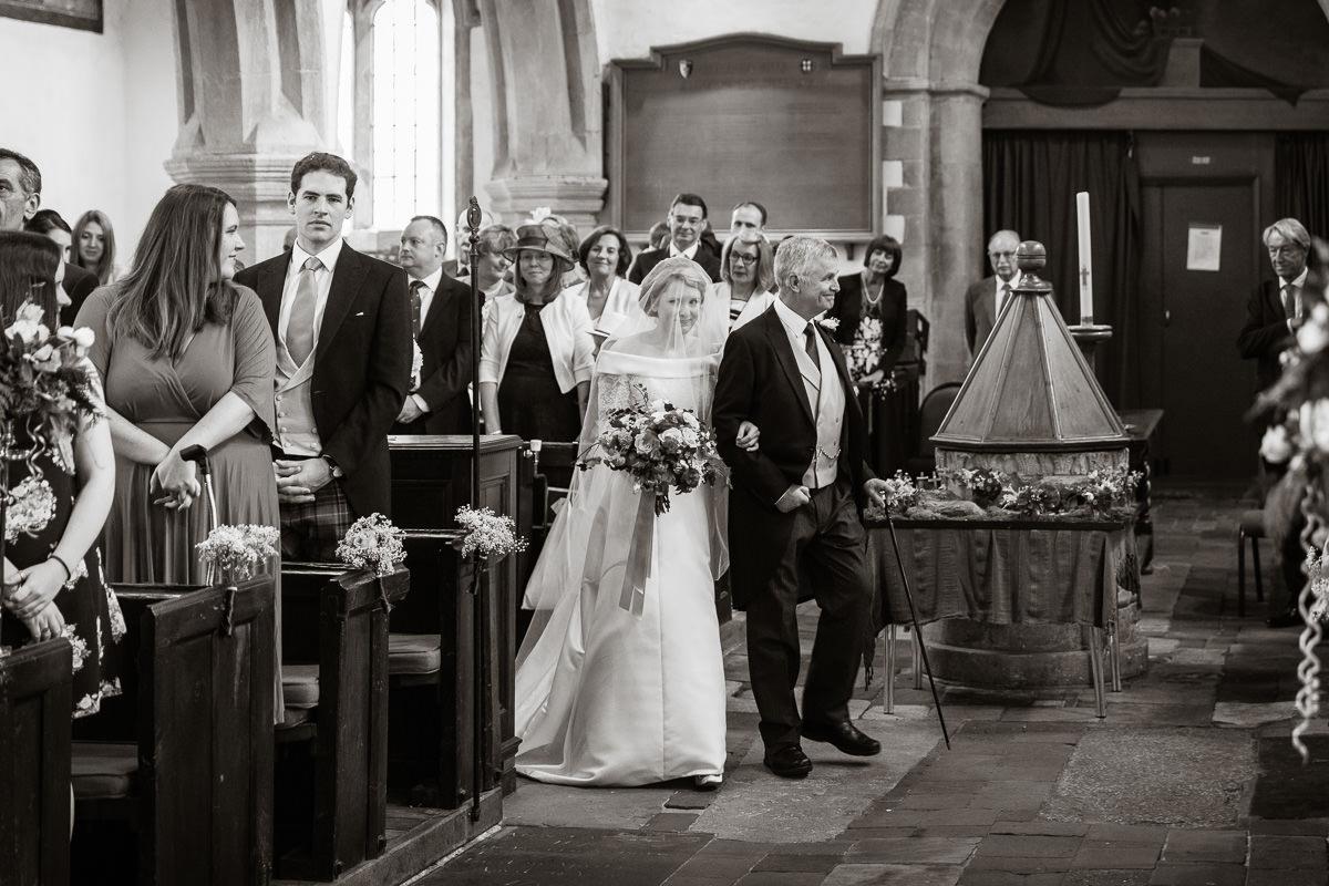 Ardington House wedding walking down the aisle
