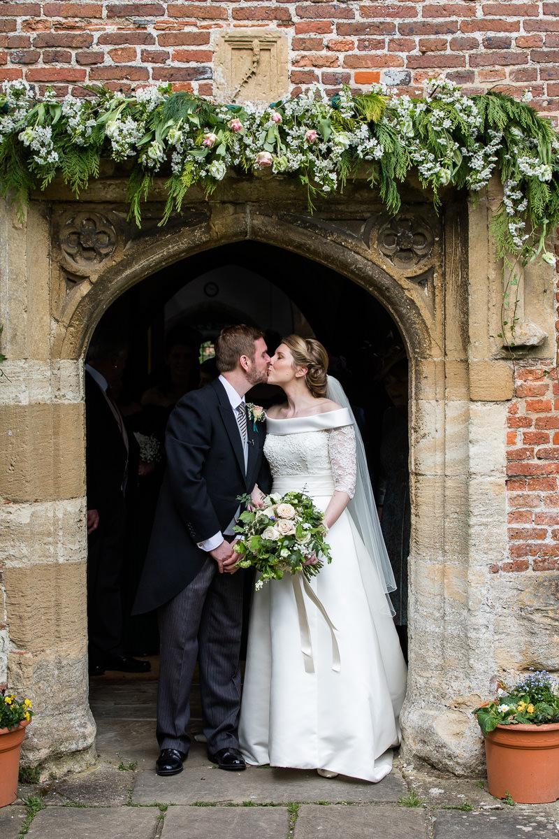 Ardington House wedding just married kiss