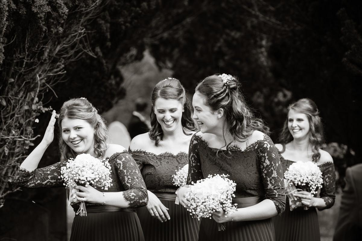 Ardington House wedding laughing bridesmaids