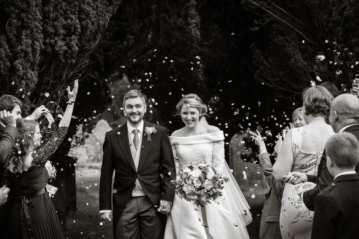 Ardington House wedding confetti toss