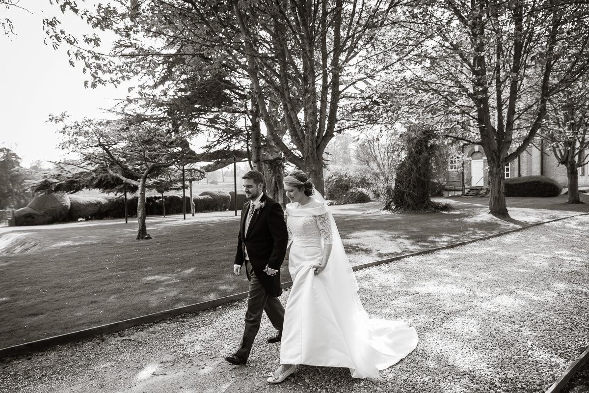 Ardington House wedding walking in garden