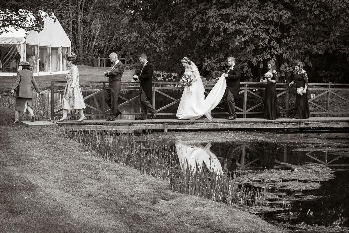 Ardington House wedding party leaving bridge
