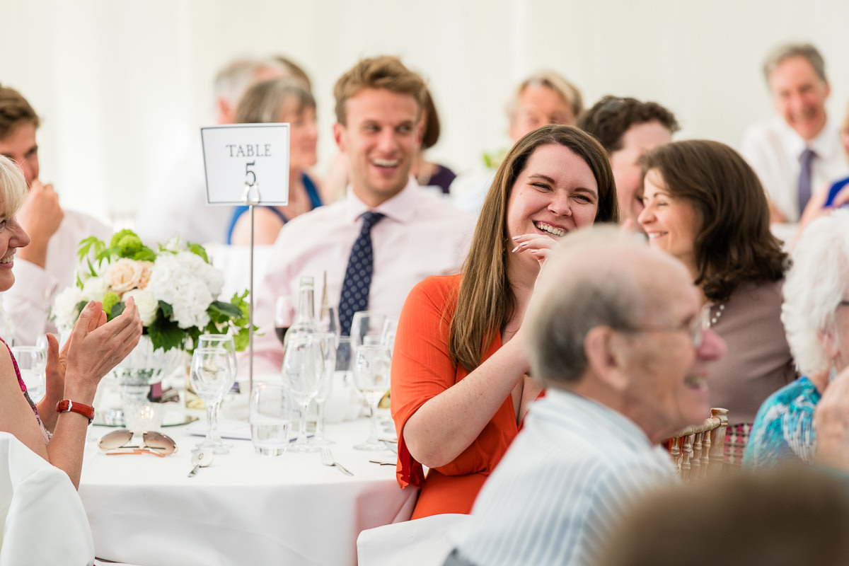 Ardington House wedding laughing guests