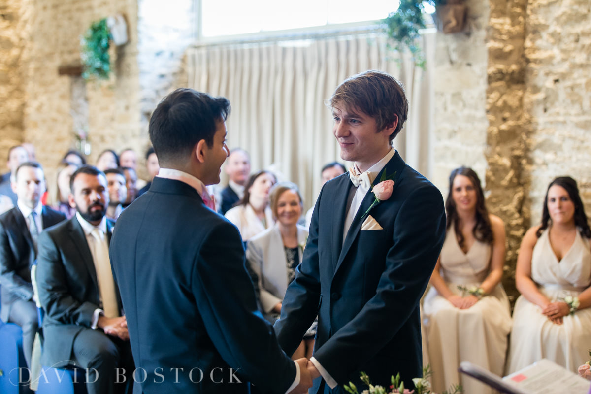 The Great Barn Aynho same sex wedding ceremony