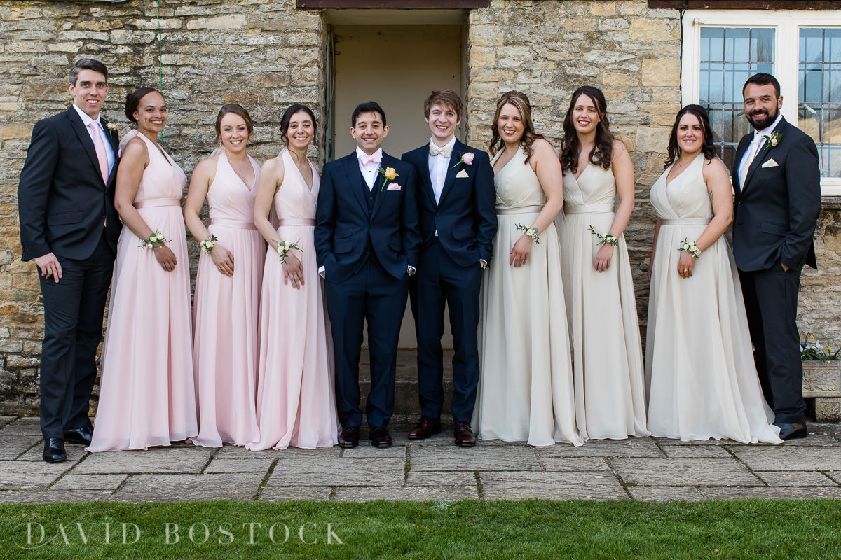The Great Barn Aynho wedding party group
