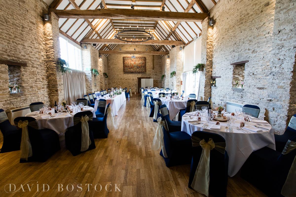 The Great Barn Aynho wedding breakfast tables
