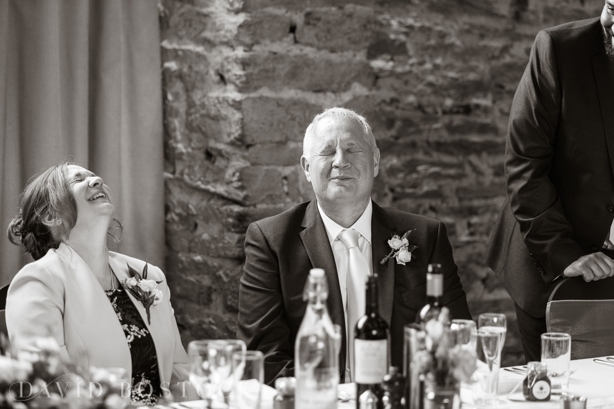 The Great Barn Aynho wedding speeches laughter