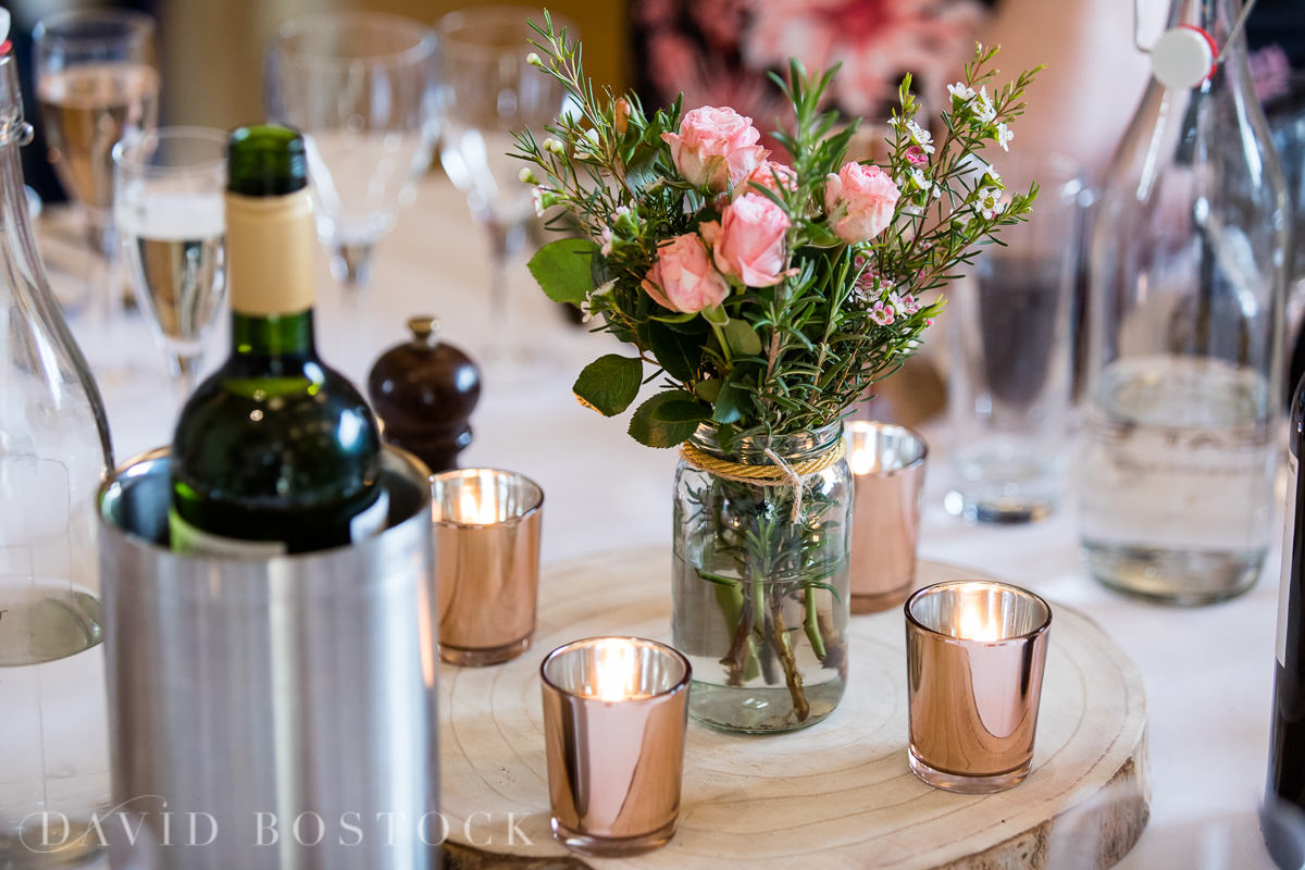The Great Barn Aynho wedding table flowers