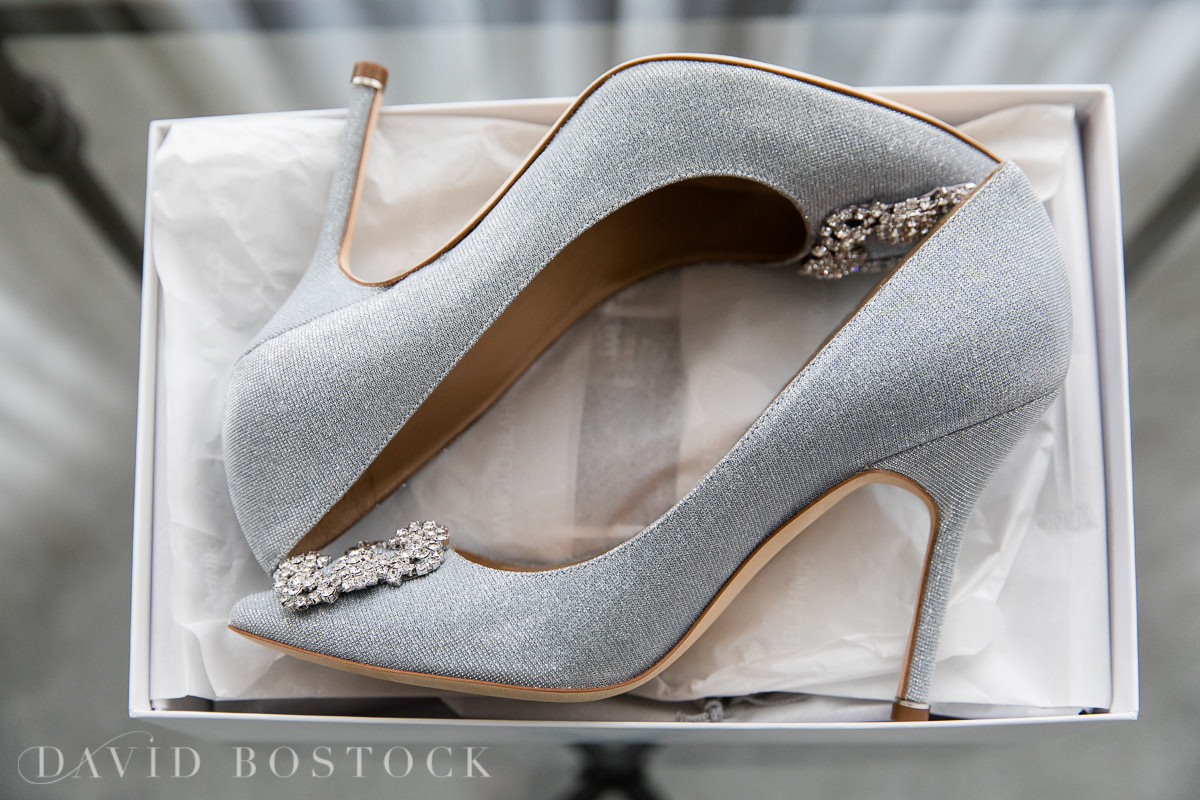 Hedsor House wedding bride Manolo Blahnik