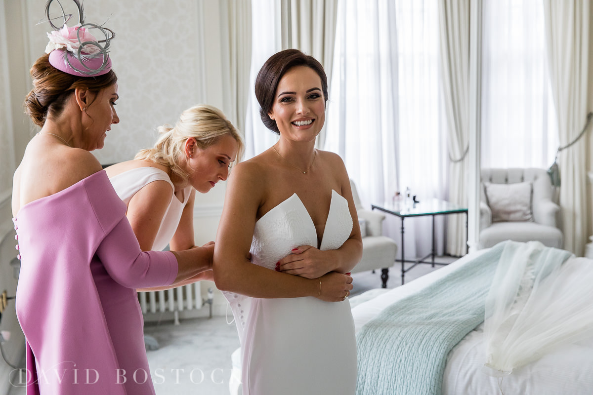 Hedsor House wedding bride getting dressed