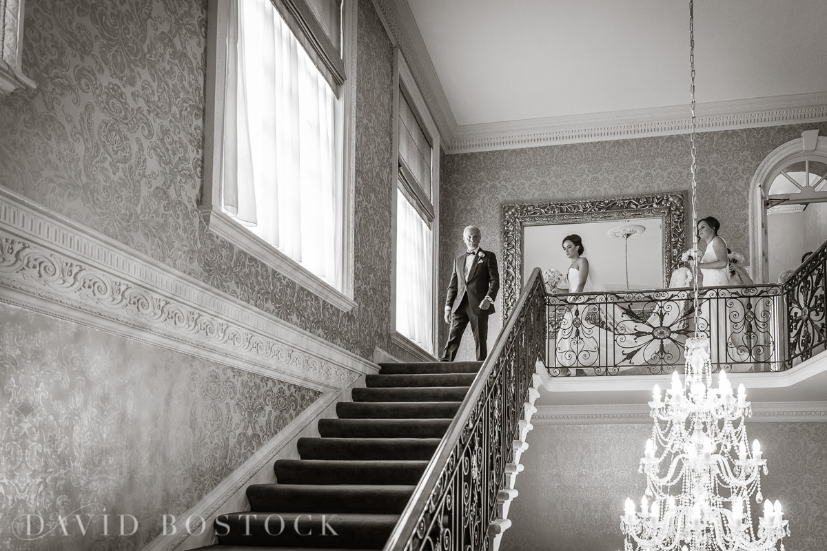 Hedsor House wedding bride walking down stairs