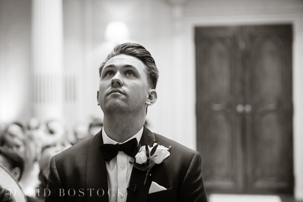 Hedsor House wedding groom waiting for bride