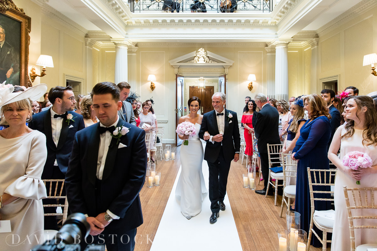 Hedsor House wedding walking down aisle