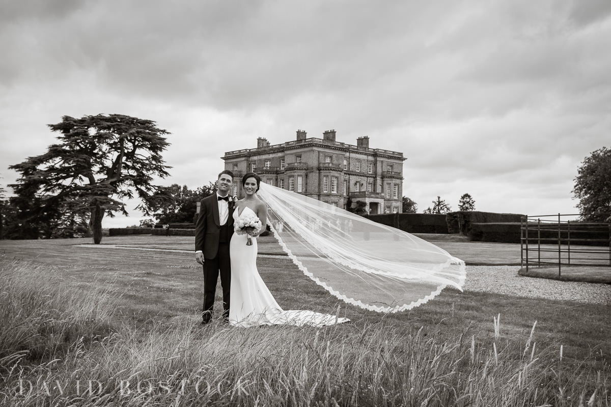 Hedsor House wedding bride blowing veil